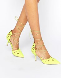 Asos Siren Lace Up Pointed Heels Lime Green