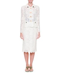 Dolce And Gabbana Lace Jacket W Bee Embroidery White