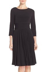 Women's Eliza J Pleated Jersey Fit And Flare Dress Black