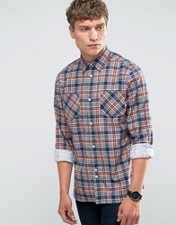 Bellfield Printed Check Shirt With Double Pocket Blue