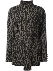 Alexandre Vauthier Leopard Print Zipped Jacket Brown