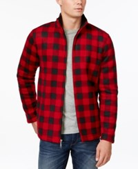 Club Room Buffalo Check Full Zip Fleece Jacket Only At Macy's Anthem Red