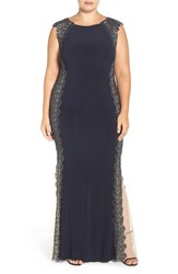 Xscape Evenings Plus Size Women's Lace Sides Jersey Gown Navy Gold