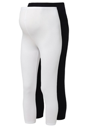 Mama Licious Mlsofia 2 Pack Leggings Black Bright White
