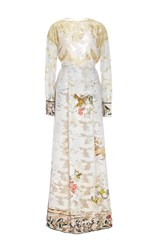 Sandra Mansour Lace And Printed Light Brocade Long Dress White