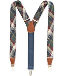 Club Room Men's Plaid Suspenders Only At Macy's Hunter Green