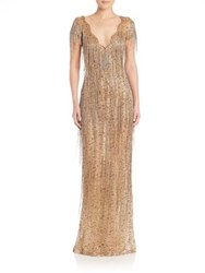 Marchesa Gold Beaded Fringe Gown