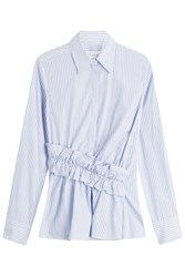 Victoria Beckham Striped Cotton Shirt With Diagonal Ruffle Waist Stripes