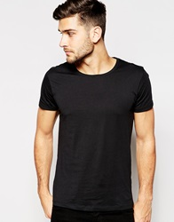 Selected Homme Crew Neck T Shirt In Pima Cottom Black