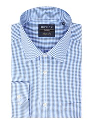 Howick Men's Tailored Albany Gingham Shirt Blue