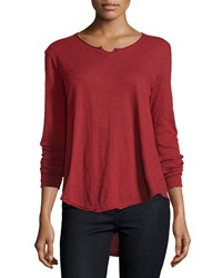 Jethro Split Neck Flutter Hem Top Scarlet Red