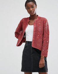 Mango Textured Cotton Blend Jacket With Embossed Detail Red