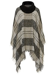 Betty Barclay Fringed Blanket Poncho Taupe Beige