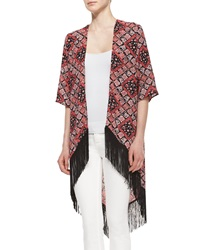 Romeo And Juliet Couture Printed Long Fringe Kimono Black Coral Yellow