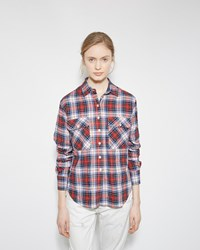 R 13 Zipper Back Shirt White And Red Plaid