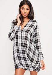 Missguided Black Check Wrap Dress White