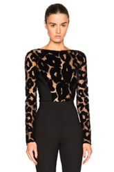 Thierry Mugler Leopard Velour And Mega Milano Bodysuit In Black