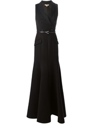 Michael Kors Belted Suit Style Gown Black