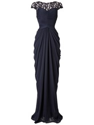 Adrianna Papell Lace Bodice On Draped Skirt Gown Ink