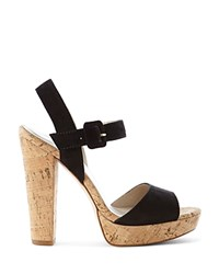 Karen Millen Cork Platform High Heel Sandals Black