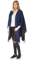Rag And Bone Double Faced Wrap Scarf Navy