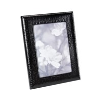 Graphic Image Leather Photo Frame Black Crocodile 5'X7