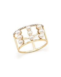 Mateo 14K Yellow Gold Trio Cultured Freshwater Pearl And Diamond Line Ring White Gold