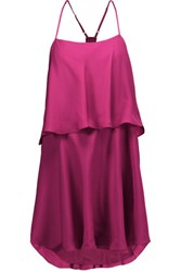 Haute Hippie Tiered Silk Mini Dress Magenta