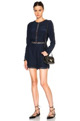 Jonathan Simkhai Crossbar Silk Romper In Blue