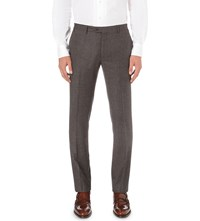 Corneliani Tailored Fit Stretch Wool Trousers Brown