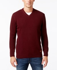 Barbour Men's Nelson Essential V Neck Sweater Wine