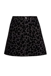 French Connection Snow Leopard Flock Mini Skirt Black