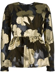 P.A.R.O.S.H. Floral Detail Flared Blouse Black