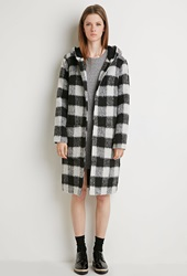 Forever 21 Plaid Faux Shearling Coat Black Grey