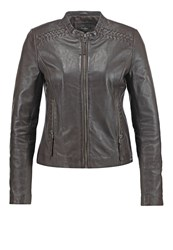 Pepe Jeans Leather Jacket Chocolate Brown