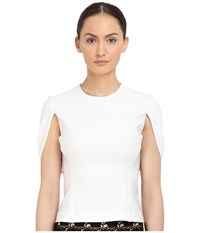 Yigal Azrou L Mechanical Stretch Cape Top White Women's Short Sleeve Pullover