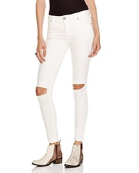 Free People Skinny Destroyed Jeans In White Stark White