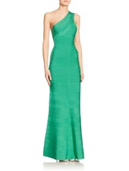 Herve Leger One Shoulder Bandage Gown Green Opal