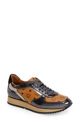 Women's Mcm Coated Canvas And Leather Trainer Cognac