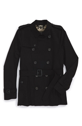 Burberry 'Sandringham' Short Double Breasted Trench Coat Black