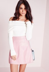Missguided Petite Faux Leather A Line Mini Skirt Dusky Pink