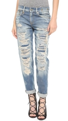 R 13 Shredded Boyfriend Jeans Selvedge Blue Shredded