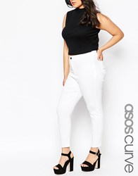Asos Curve Rivington High Waist Denim Ankle Grazer Jeggings In White White