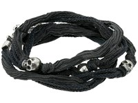 King Baby Studio Multi Wrap Charcoal Silk Bracelet With Skulls Charcoal Bracelet Gray