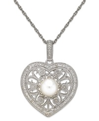 Macy's Cultured Freshwater Pearl 7Mm Diamond 1 10 Ct. T.W. Heart Pendant Necklace In Sterling Silver