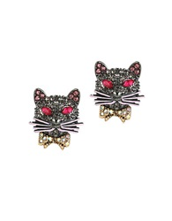 Betsey Johnson Pave Cat Stud Earrings Multi