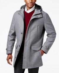London Fog Hooded Insulated Duffle Coat Grey Heather