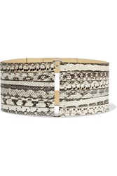 Mcq By Alexander Mcqueen Elaphe And Leather Waist Belt Animal Print