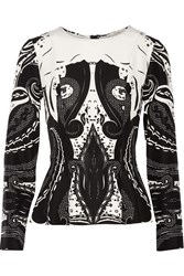 Etro Printed Silk Peplum Top Black