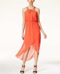 Thalia Sodi Embellished High Low Maxi Dress Only At Macy's Rich Coral
